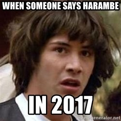 Conspiracy Keanu - when someone says harambe in 2017