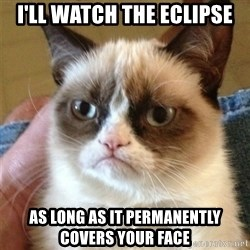 Grumpy Cat  - I'LL WATCH THE ECLIPSE AS LONG AS IT PERMANENTLY COVERS YOUR FACE
