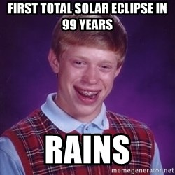 Bad Luck Brian - First total Solar eclipse in 99 years Rains