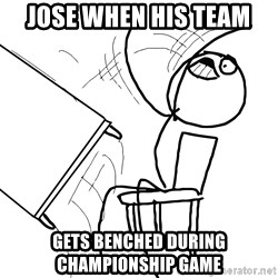 Desk Flip Rage Guy - Jose when his team  gets benched during championship game