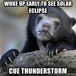Confession Bear - Woke up early to see solar eclipse cue thunderstorm