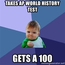 Success Kid - takes ap world history test  gets a 100