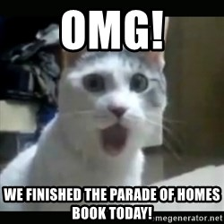 Surprised Cat - omg! We Finished the Parade of Homes book today!