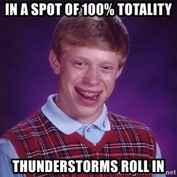 Bad Luck Brian - In a spot of 100% totality Thunderstorms roll in