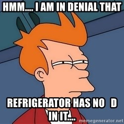 Futurama Fry - hmm.... i am in denial that refrigerator has no   d   in it....