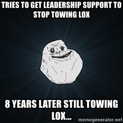 Forever Alone - tries to get leadership support to stop towing lox 8 years later still towing lox...
