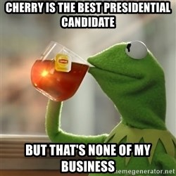 But that's none of my business: Kermit the Frog - cherry is the best presidential candidate but that's none of my business
