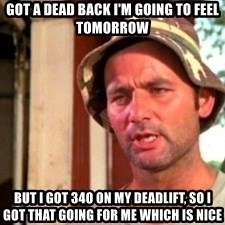 Bill Murray Caddyshack - Got a dead back i'm goIng to feel tomorrow But i got 340 on my deadlift, so i got thAt going for me which is nice