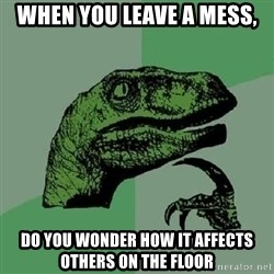 Philosoraptor - when you leave a mess, do you wonder how it affects others on the floor