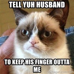 Grumpy Cat  - Tell yuh husband To keep his finger outta me