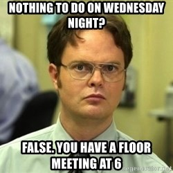 Dwight Meme - nothing to do on wednesday night? false. you have a floor meeting at 6