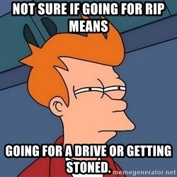 Futurama Fry - Not sure if going for RIP means Going for a Drive or getting stoned.
