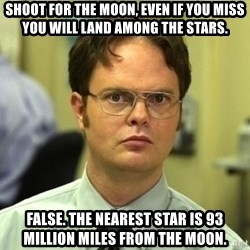 Dwight Schrute - SHOOT FOR THE MOON, EVEN IF YOU MISS YOU WILL LAND AMONG THE STARS. FALSE. THE NEAREST STAR IS 93 MILLION MILES FROM THE MOON.