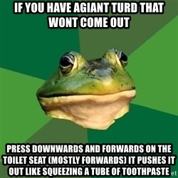 Foul Bachelor Frog - if you have agiant turd that WONT COME OUT PRESS DOWNWARDS AND FORWARDS ON THE TOILET SEAT (MOSTLY FORWARDS) IT PUSHES IT OUT LIKE SQUEEZING A TUBE OF TOOTHPASTE