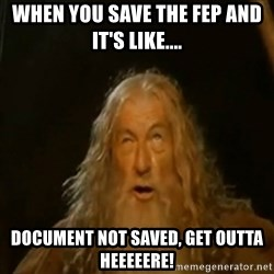 Gandalf You Shall Not Pass - When you save the fep and IT'S like.... Document not saved, get outta heeeeere!