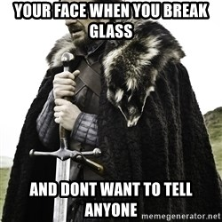 Sean Bean Game Of Thrones - your face when you break glass  and dont want to tell anyone
