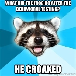 Lame Pun Coon - what did the frog do after the behavioral testing? he croaked