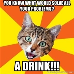 Bad Advice Cat - You know what would solve all your problems? A DRINK!!!