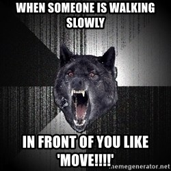 Insanity Wolf - When someone is walking slowly in front of you like 'move!!!!'