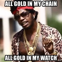 Trinidad James meme  - All GOLD IN MY CHAIN ALL GOLD IN MY WATCH