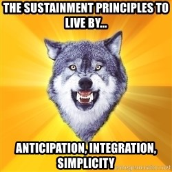 Courage Wolf - tHE SUSTAINMENT PRINCIPLES TO LIVE BY... aNTICIPATION, INTEGRATION, SIMPLICITY