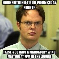 Dwight Meme - Have nothing to do Wednesday night? False. you have a mandatory wing meeting at 7pm in the lounge