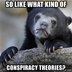 Confession Bear - so like what kind of  conspiracy theories?