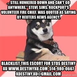 """Cool Dog - ... still hunkered down and can't go anywhere,"""" Steve Sims, Rockport's volunteer fire chief, was quoted as saying by Reuters news agency. blacklist this escort for stds destiny xu www.destinyxu.com  514-980-0667 xdestiny.xu@gmail.com"""