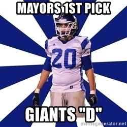 "Highschool Football Kid - Mayors 1st pick Giants ""d"""
