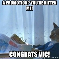 newspaper cat realization - A promotion? You'RE kitten me! congrats VIC!