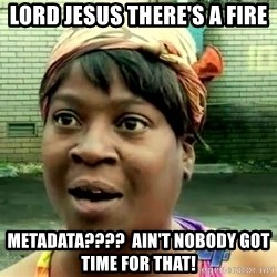 oh lord jesus it's a fire! - Lord Jesus there's a fire Metadata????  Ain't nobody got time for that!