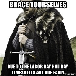 Brace Yourself Meme - brace yourselves due to the labor day holiday, timesheets are due early