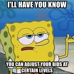 I'll have you know Spongebob - I'll Have you know you can adjust your bids at certain levels