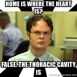 Dwight from the Office - Home is where the heart is? false. the thoracic cavity is