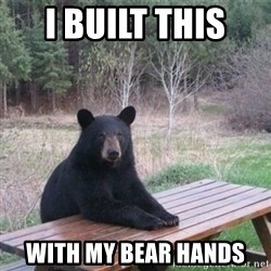 Patient Bear - i built this  with my bear hands