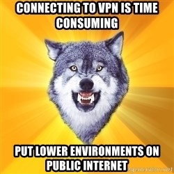 Courage Wolf - CONNECTING TO VPN IS TIME CONSUMING PUT LOWER ENVIRONMENTS ON PUBLIC INTERNET