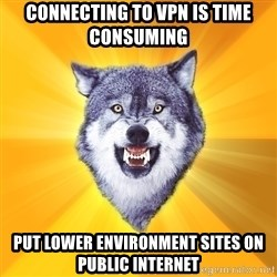 Courage Wolf - CONNECTING TO VPN IS TIME CONSUMING PUT LOWER ENVIRONMENT SITES ON PUBLIC INTERNET