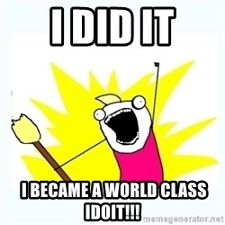 All the things - i did it  i became a world class idoit!!!