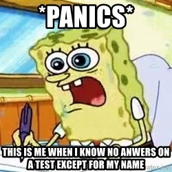 Spongebob What I Learned In Boating School Is - *panics* This is me when i know no anwers on a test except for my name