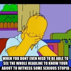 Homer Facepalm - When you dont even need to be able to see the whole headline to know Your about to witness some serious stupid