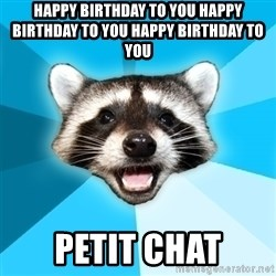 Lame Pun Coon - happy birthday to you happy birthday to you happy birthday to you petit chat