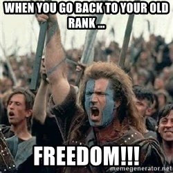 Brave Heart Freedom - WHEN YOU GO BACK TO YOUR OLD RANK ... FREEDOM!!!