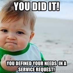 fist pump baby - You did It! You defined your needs  in a Service request!
