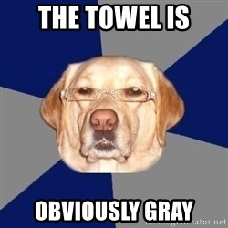 Racist Dog - The Towel is Obviously gray