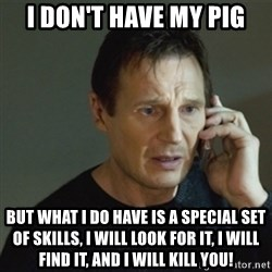 taken meme - I don't have my pig But what I do have is a special set of skills, I will look for it, I will find it, and I will kill you!
