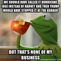 Kermit The Frog Drinking Tea - We SHOULD have called it hurricane José instead of harvey and then Trump would have stopped it at the border But that's none of my business