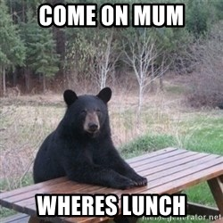 Patient Bear - come on mum wheres lunch