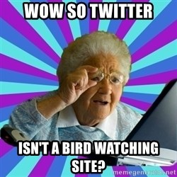 old lady - wow so twitter  isn't a bird watching site?