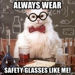Science Cat - always wear SAFETY glasses like me!