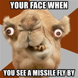 Crazy Camel lol - your face when  you see a missile fly by